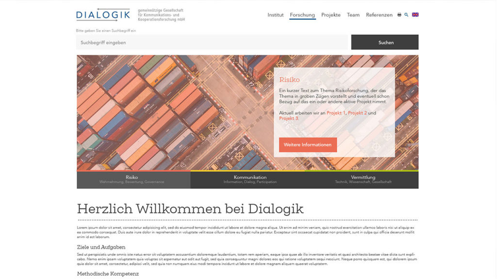 Redesign der Institutswebseite